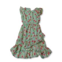 104-es zöld lepkés lenge ruha - Kiki & Koko - ÚJ