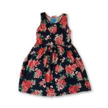134-140-es sötétkék virágos pamut ruha - H&M