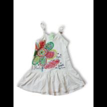 110-es fehér virágos spagettipántos ruha - Losan