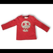 98-as piros koponyás átfordítható flitteres pamutfelső - Kiki & Koko - ÚJ