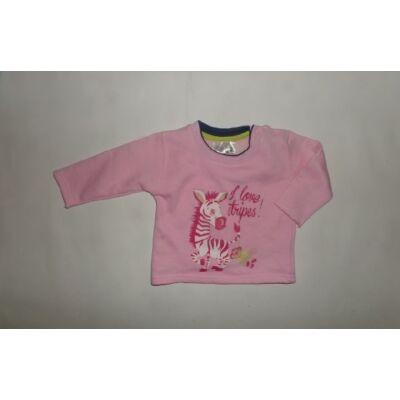 68-as rózsaszín zebrás pamut pulóver - Ergee - ÚJ