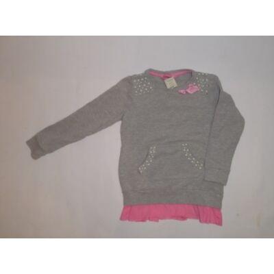 110-116-os szürke-rózsaszín pulcsi