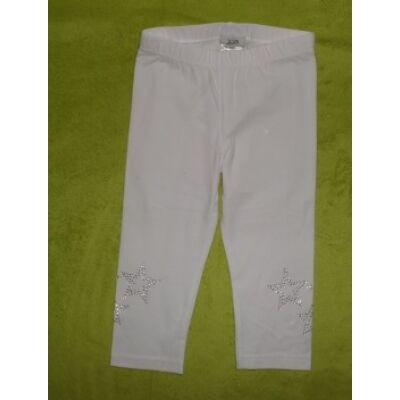 104-es háromnegyedes csillagos fehér leggings  -  Kiki & Koko - ÚJ