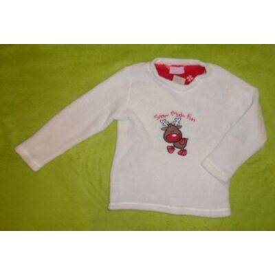 116-122-es fehér rénszarvasos pulóver - Primark Essential