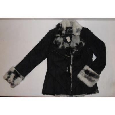152-158-as fekete szőrmés lány télikabát - Ann Christine