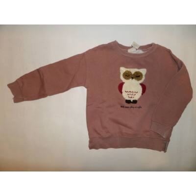 116-os barna baglyos lány pulóver - Zara