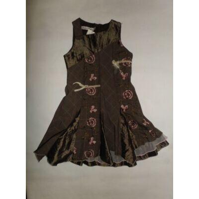 110-es szürke-khaki virágos ujjatlan ruha