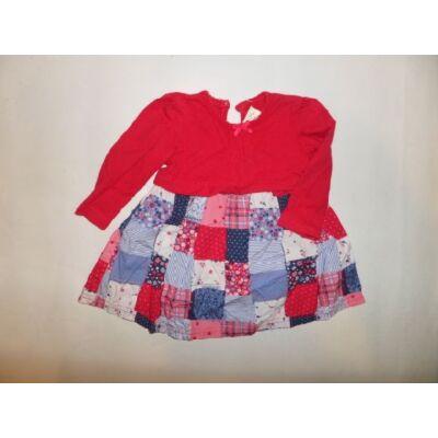 62-68-as piros-kék mintás hosszúujjú ruha