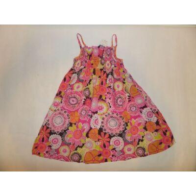 110-116-os rózsaszín virágos pántos ruha - George