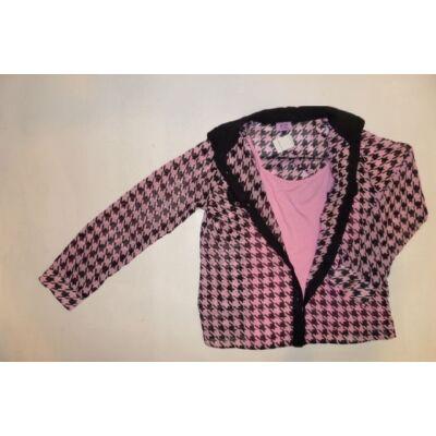 122-es rózsaszín-fekete mintás dupla hosszúujjú blúz - F&F