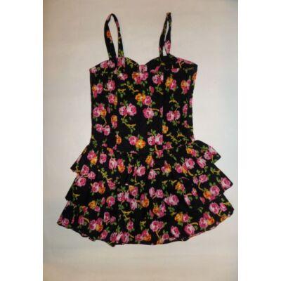 152-es fekete virágos pántos ruha - Young Dimension - ÚJ