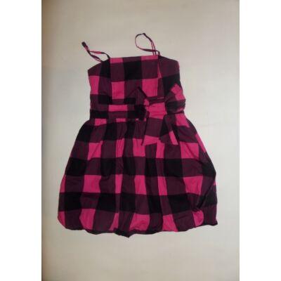 140-es rózsaszín-fekete kockás alkalmi ruha - Young Dimension