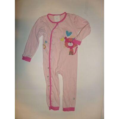 86-92-es rózsaszín állatos hosszúujjú rugi