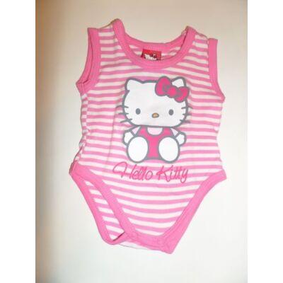 68-as rózsaszí csíkos ujjatlan body - Hello Kitty