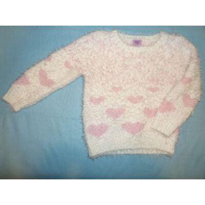 92-es fehér szivecskés pulóver - F&F