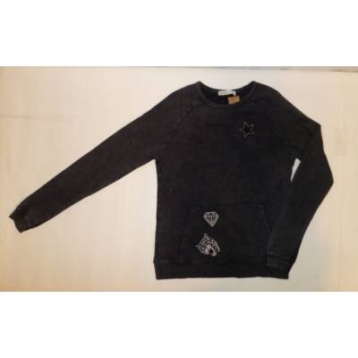 164-es szürkésfekete lány pulóver - C&A