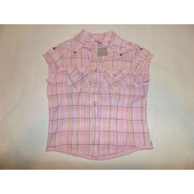 116-os rózsaszín kockás rövidujjú blúz - Girl2Girl