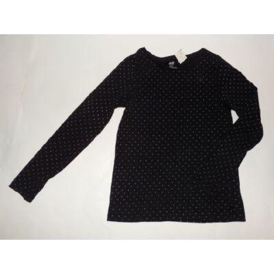 122-128-as fekete pöttyös lány pamutfelső - H&M