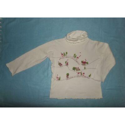 116-os fehér lány garbónyakú pamutfelső