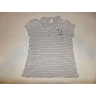 122-128-as szürke piké póló - Hello Kitty