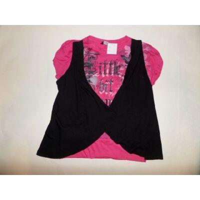 122-128-as rózsaszín-fekete duplahatású póló - George