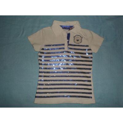 134-140-es fehér-kék flitteres lány póló