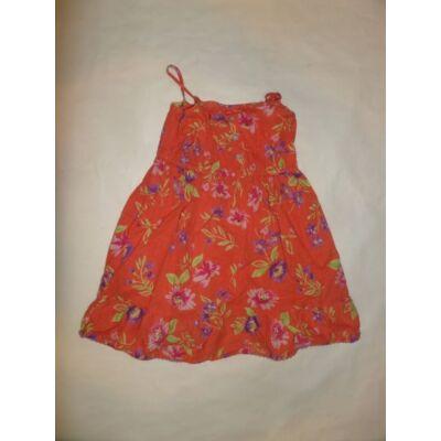 104-110-es narancssárga virágos ruha - Girl2Girl