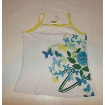 146-152-es fehér pillangós ujjatlan póló