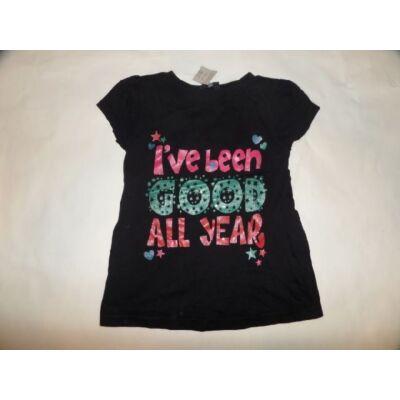116-122-es fekete feliratos lány póló - George