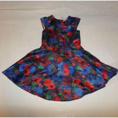110-es piros-kék virágos selyem hatású ruha - Riviera