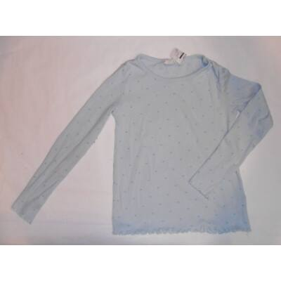 122-128-as kék bordázott szivecskés pamutfelső - H&M