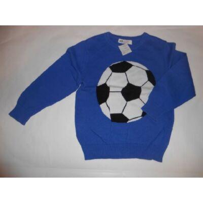 98-104-es kék focis kötött pulóver - H&M