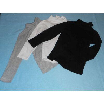 98-104-es fehér-fekete unisex garbónyakú pamutfelsők, 3 db egyben - H&M