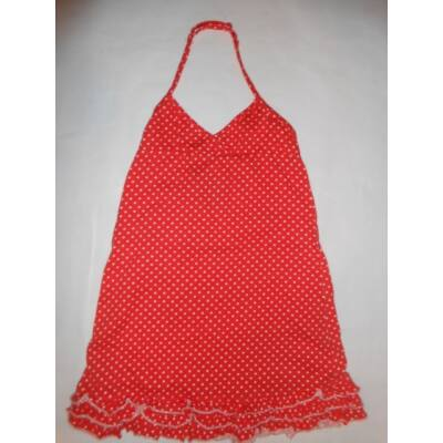 110-116-os piros pöttyös nyakbakötős ruha
