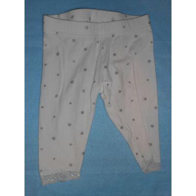 86-92-es ezüst csillagos leggings, térdnél csipkés