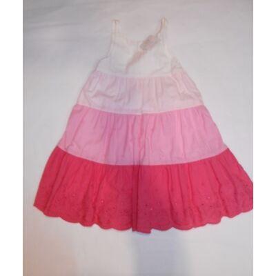 98-104-es fehér-rózsaszín csíkos ujjatlan ruha