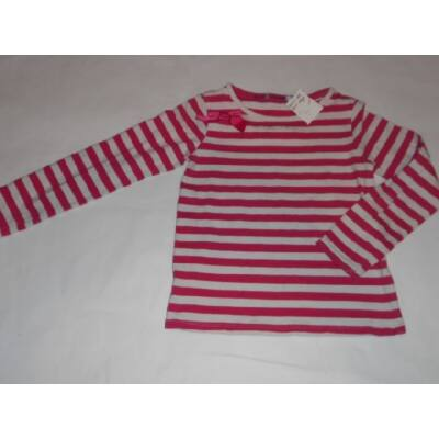 116-os pink-fehér csíkos masnis pamutfelső - John Lewis