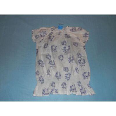 134-140-es fehér-kék virágos rövidujjú blúz - Alive