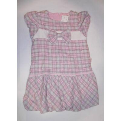 116-122-es szürke-rózsaszín kockás vastag ruha - Andy Wawa