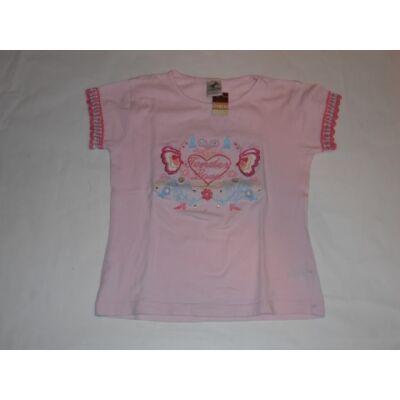 122-es rózsaszín szivecskés-lepkés póló - C&A