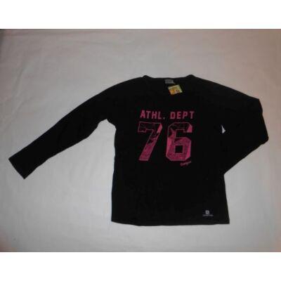 116-os fekete feliratos lány pamutfelső - Domyos, Decathlon