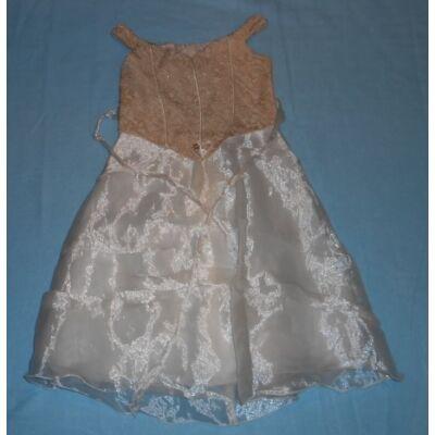104-es barna-fehér tüllrátétes alkalmi ruha