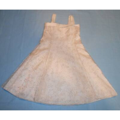 110-116-os vajszínű tüllrátétes ujjatlan alkalmi ruha