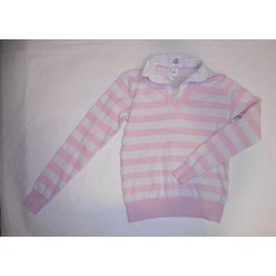 158-164-es rózsaszín csíkos duplahatású pulóver - C&A