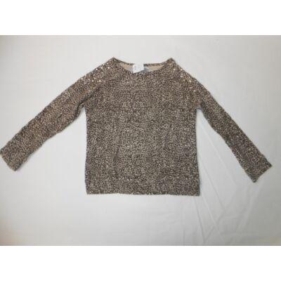 104-110-es barna leopárdmintás pulcsi