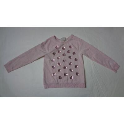 134-140-es rózsaszín flitteres pulóver - H&M
