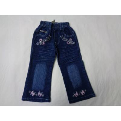 86-92-es hímzett gumis derekú farmernadrág - ÚJ