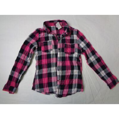 146-os rózsaszín-fekete kockás hosszúujjú blúz - F&F