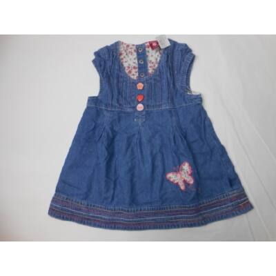 98-as kék pillangós ujjatlan farmerruha - Pumpkin Patch
