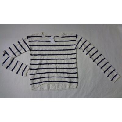 158-164-es fehér-fekete csíkos pulcsi - H&M